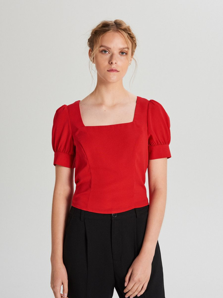 Blouse with puff sleeves - ROT - WY817-33X - Cropp - 1