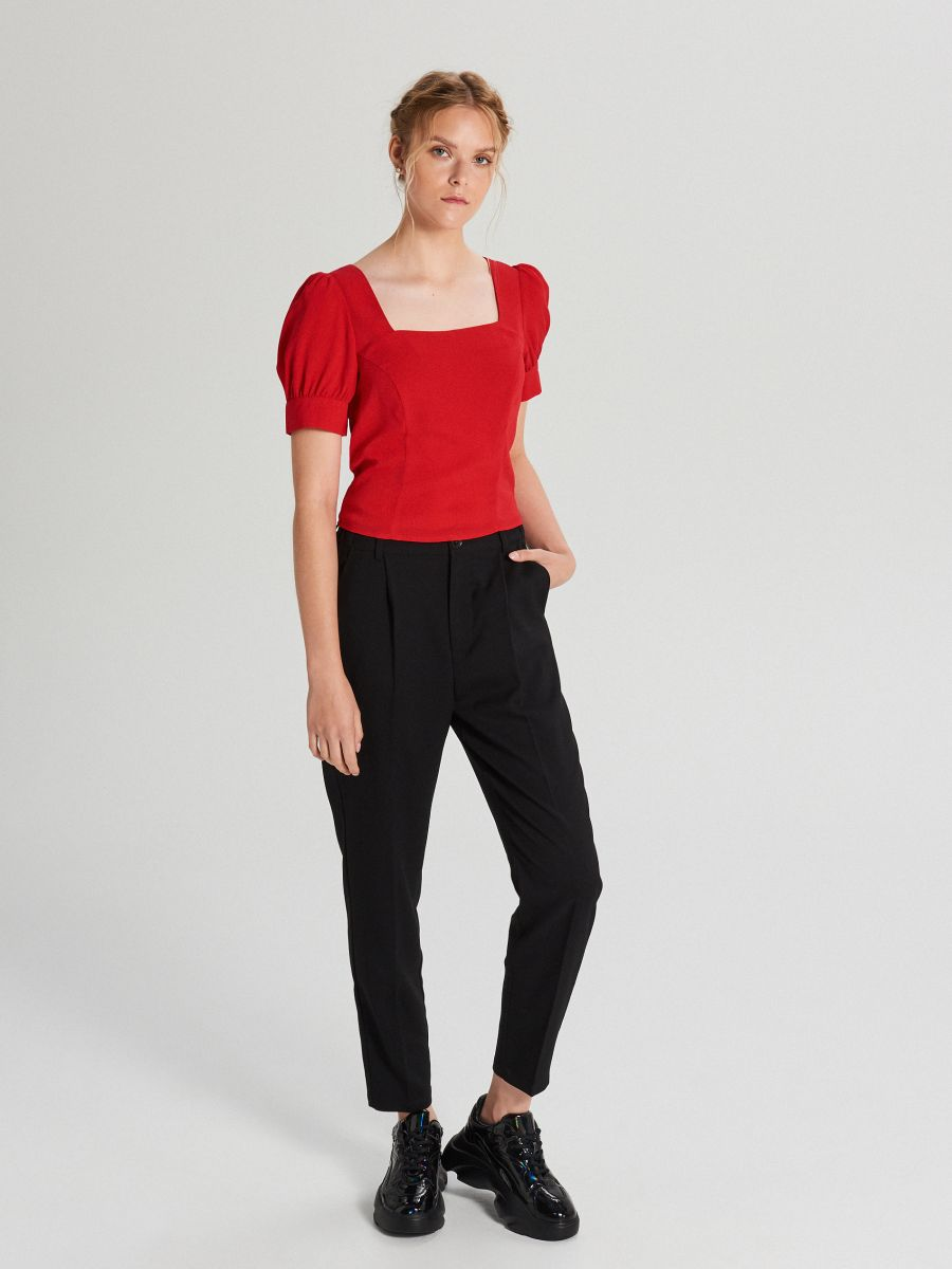 Blouse with puff sleeves - ROT - WY817-33X - Cropp - 2