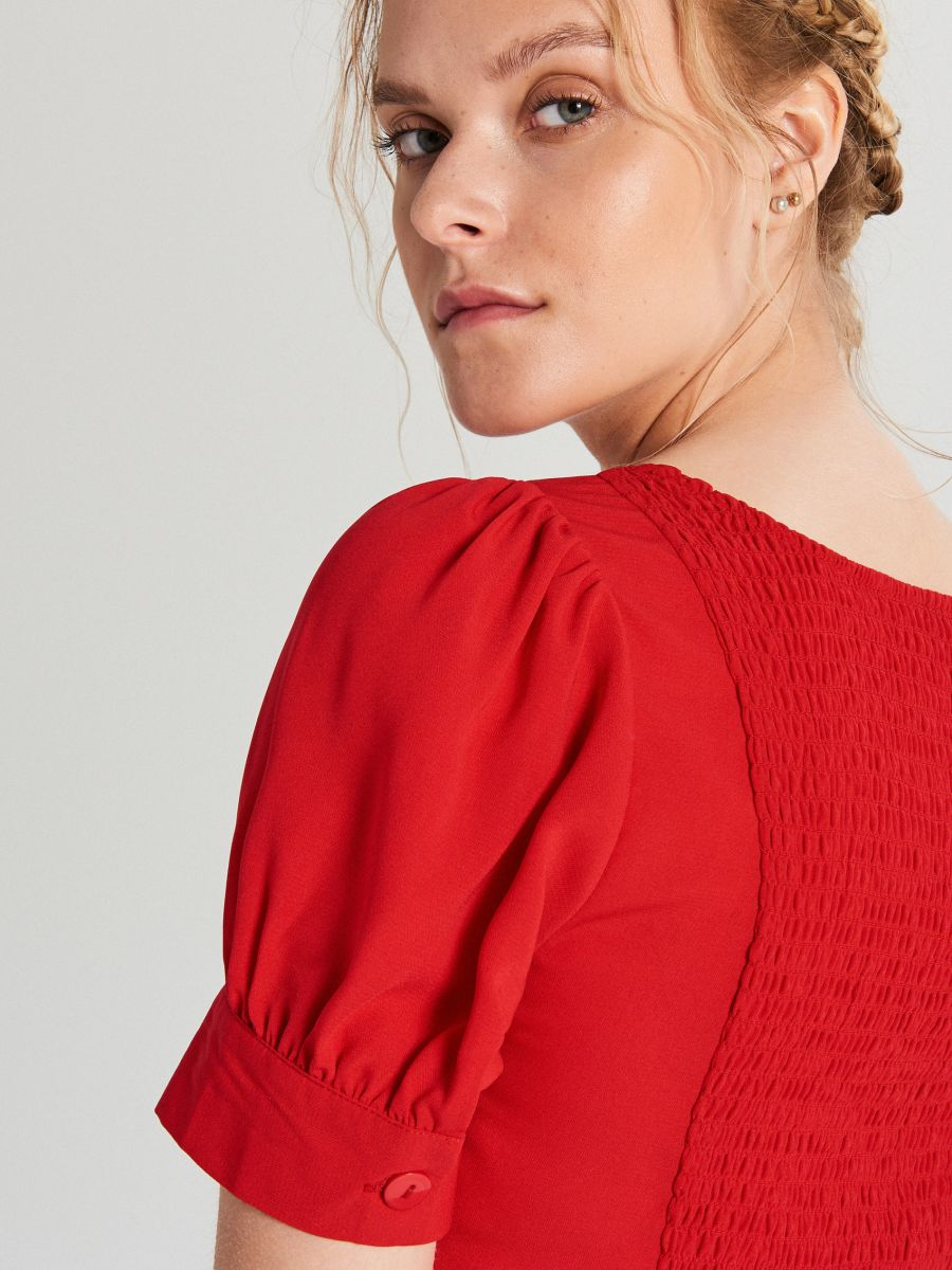 Blouse with puff sleeves - ROT - WY817-33X - Cropp - 4