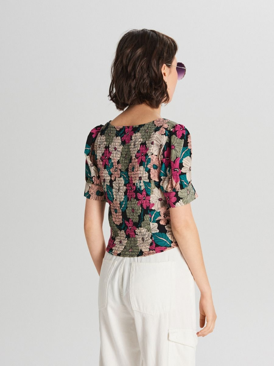 Blouse with puff sleeves - SCHWARZ - WY817-99X - Cropp - 4