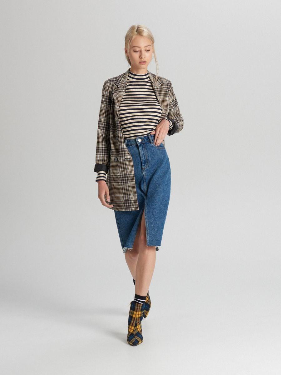 Mock turtle-neck blouse - MARINEBLAU - WZ195-59X - Cropp - 2