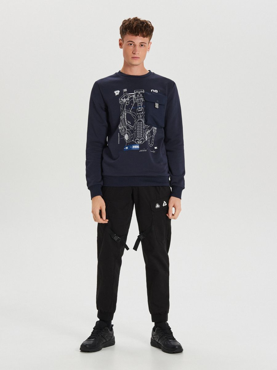 Techwear sweatshirt with prints - MARINEBLAU - XG625-59X - Cropp - 1