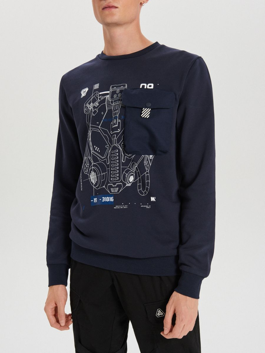 Techwear sweatshirt with prints - MARINEBLAU - XG625-59X - Cropp - 3