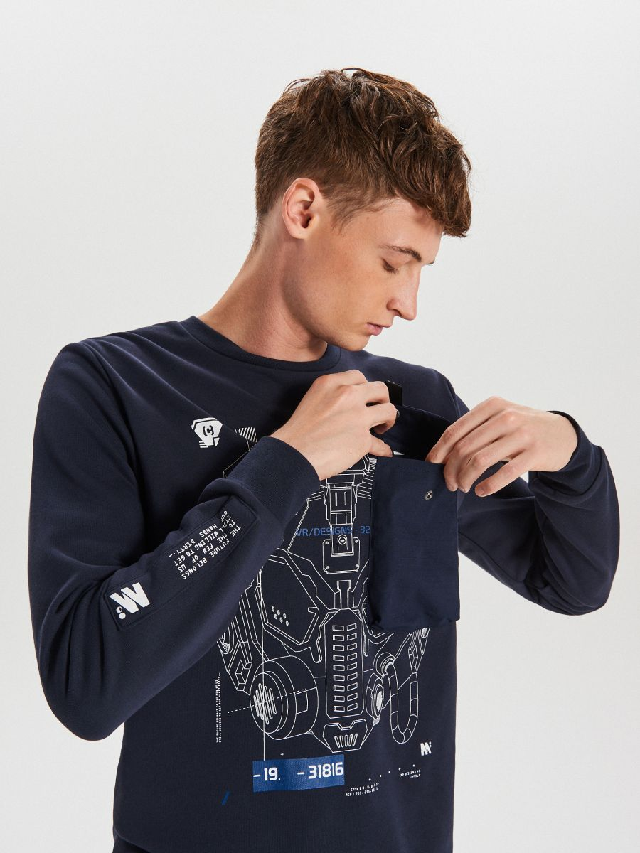 Techwear sweatshirt with prints - MARINEBLAU - XG625-59X - Cropp - 4