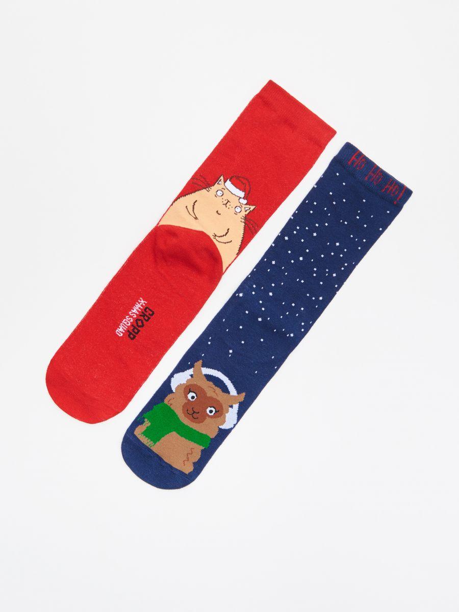 Christmas motif socks 2 pack - MARINEBLAU - XI732-59X - Cropp - 1