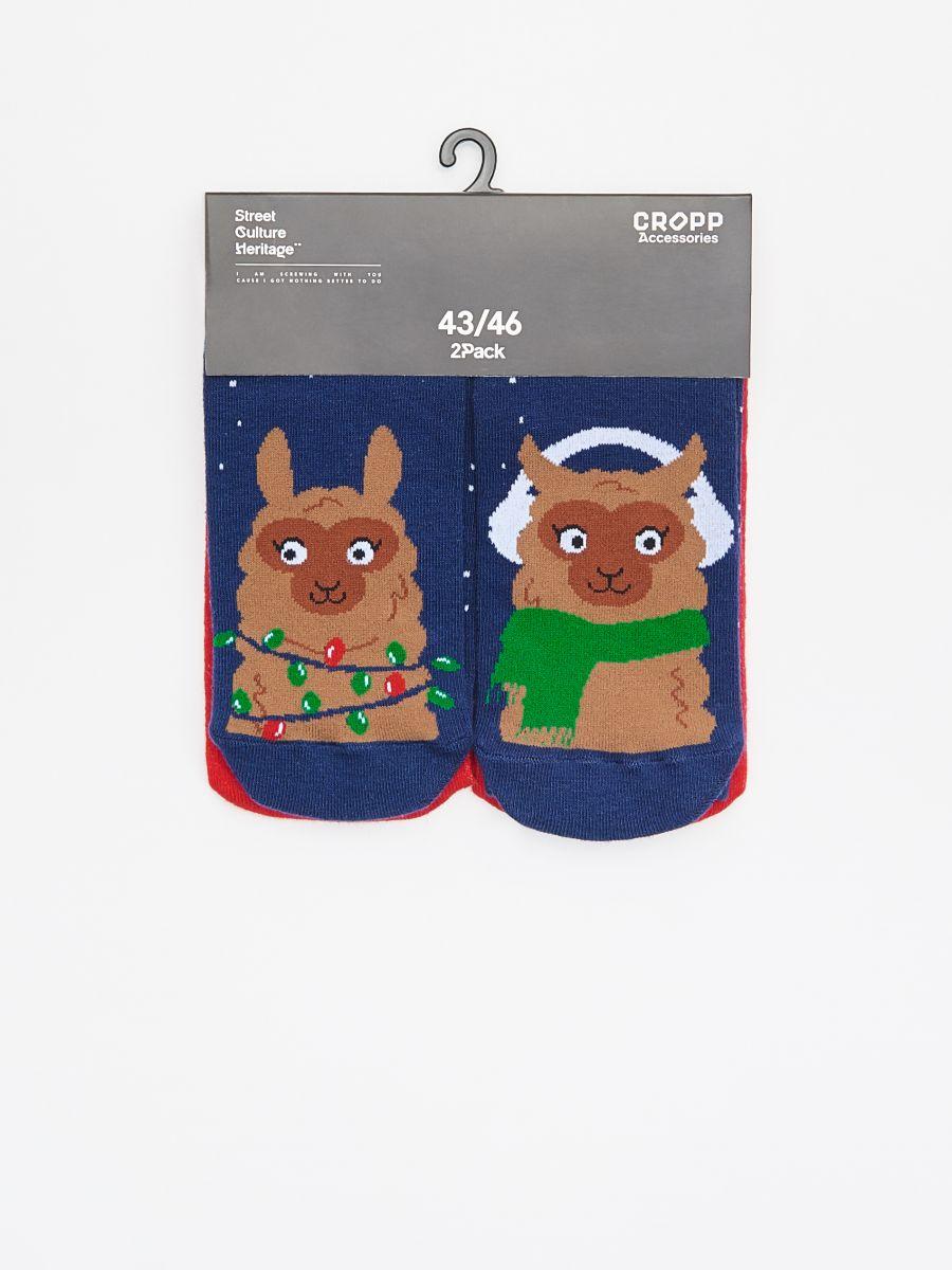 Christmas motif socks 2 pack - MARINEBLAU - XI732-59X - Cropp - 2