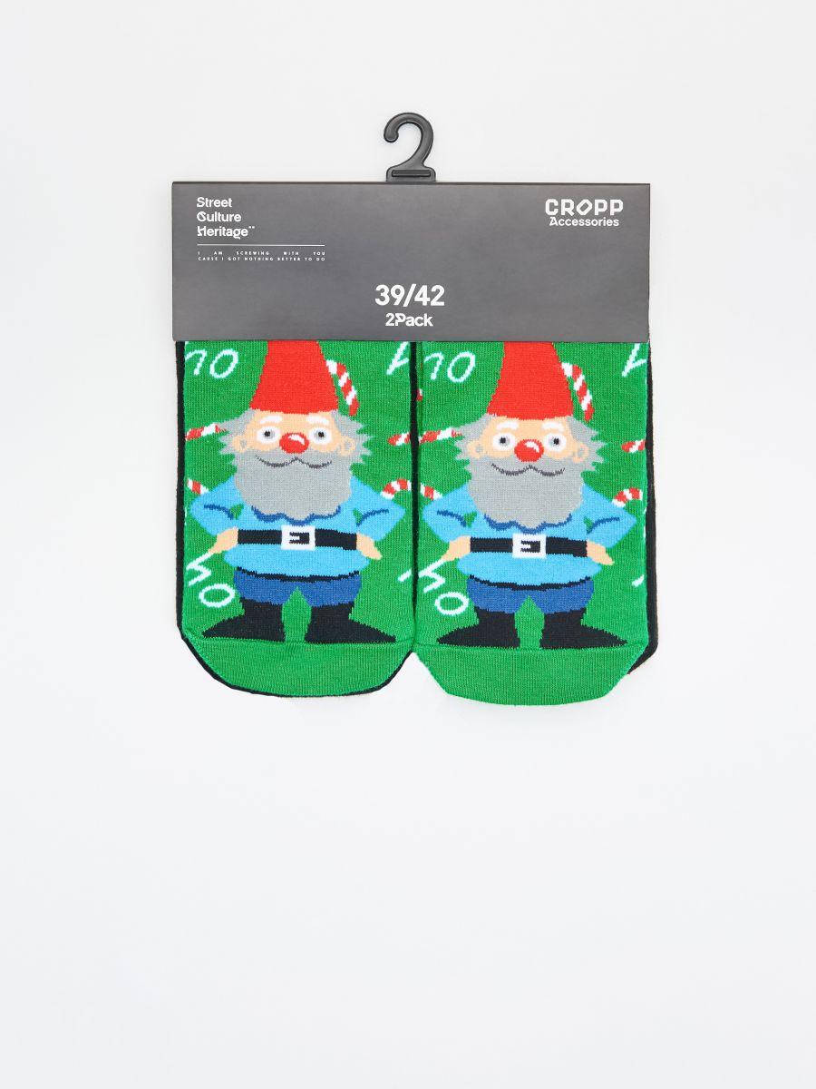 Christmas motif socks 2 pack - GRÜN - XI732-77X - Cropp - 2