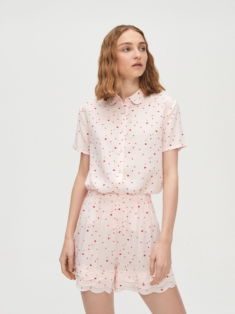 Heart print two piece pyjama set - ROSA - XO421-03X - Cropp - 1