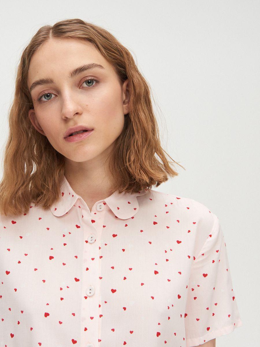 Heart print two piece pyjama set - ROSA - XO421-03X - Cropp - 2