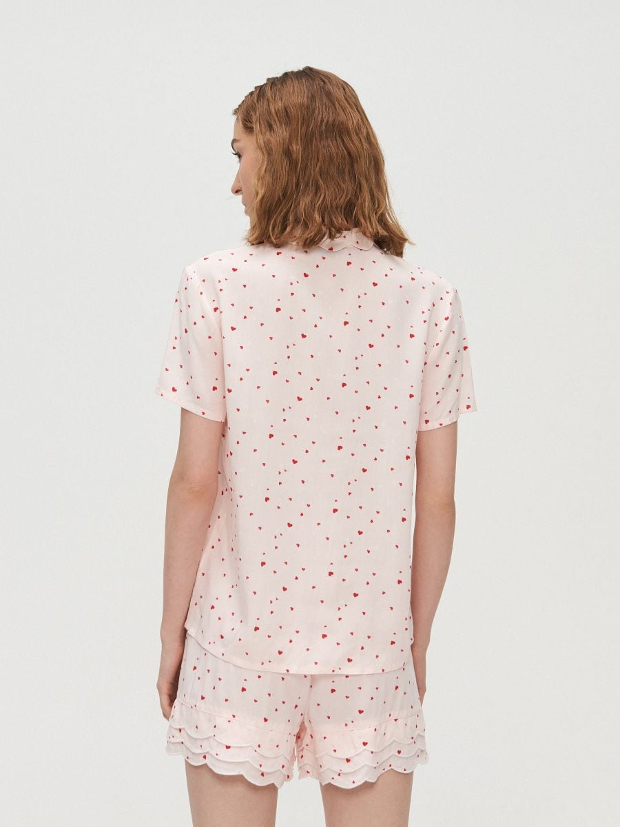 Heart print two piece pyjama set - ROSA - XO421-03X - Cropp - 4