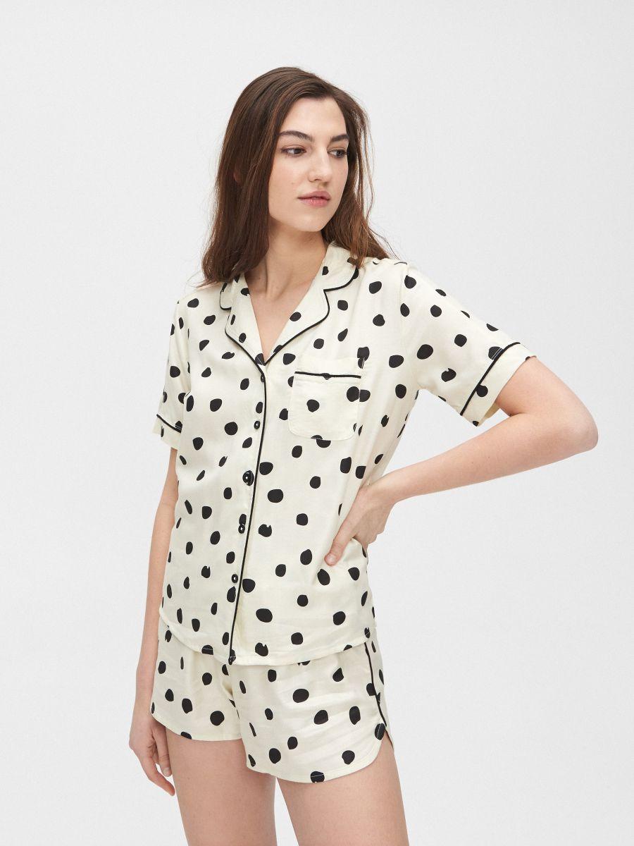 Pyjama set with short-sleeved top - ELFENBEIN - XO424-02X - Cropp - 1