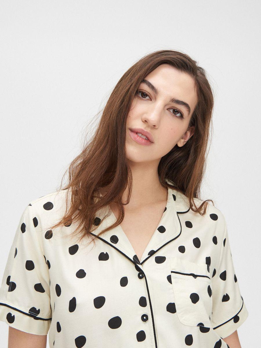 Pyjama set with short-sleeved top - ELFENBEIN - XO424-02X - Cropp - 4