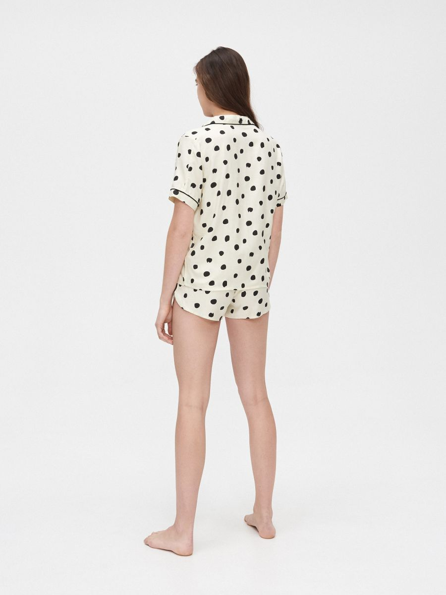 Pyjama set with short-sleeved top - ELFENBEIN - XO424-02X - Cropp - 5