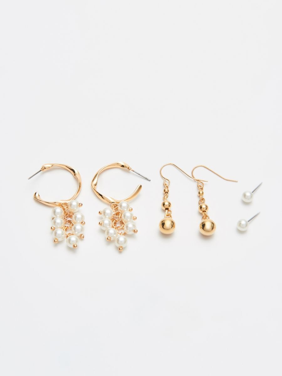 Pack of 3 pairs of earrings - GOLDEN - XR436-GLD - Cropp - 1