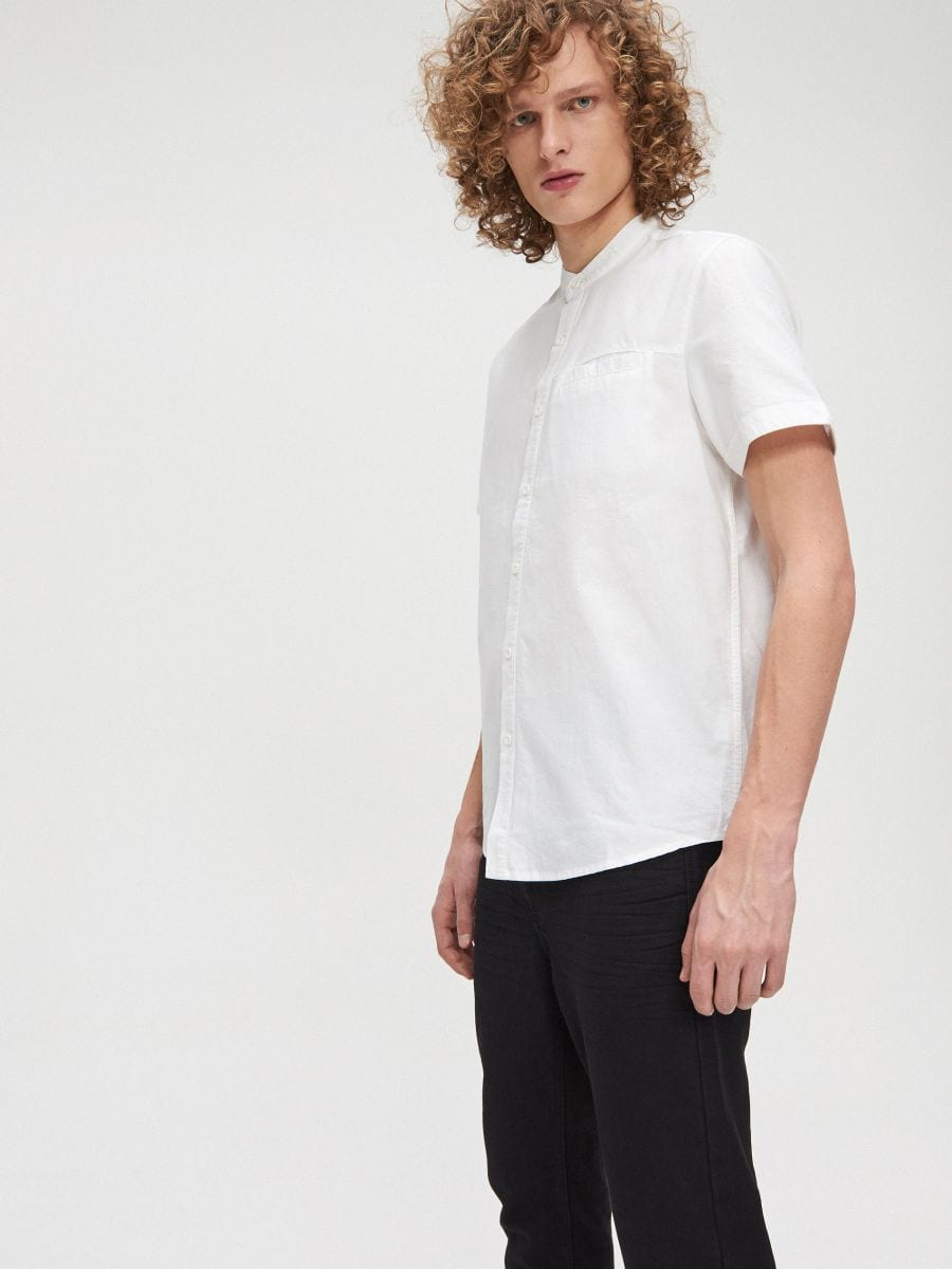Cotton shirt with standing collar - WEIß - XT948-00X - Cropp - 2