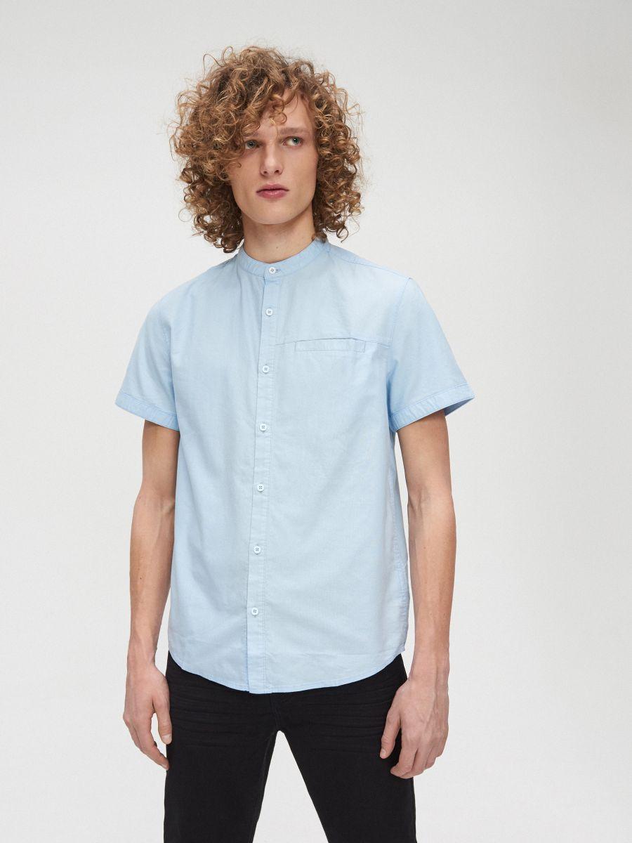 Cotton shirt with standing collar - BLAU - XT948-50X - Cropp - 3