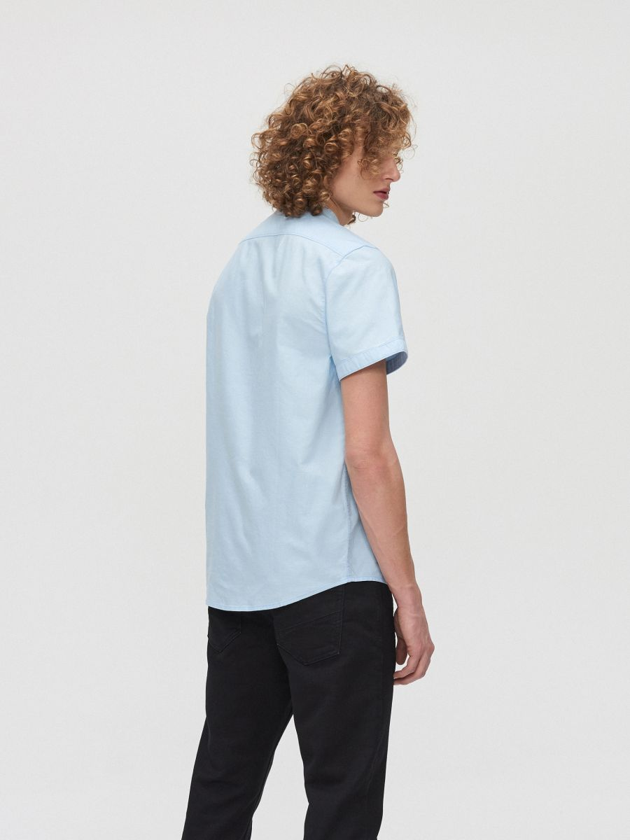 Cotton shirt with standing collar - BLAU - XT948-50X - Cropp - 4