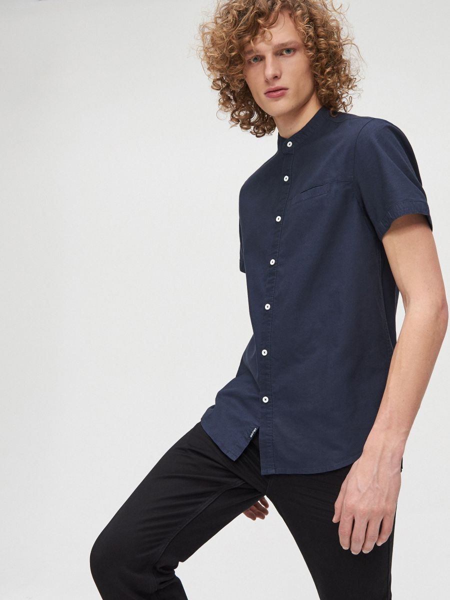 Cotton shirt with standing collar - MARINEBLAU - XT948-59X - Cropp - 2