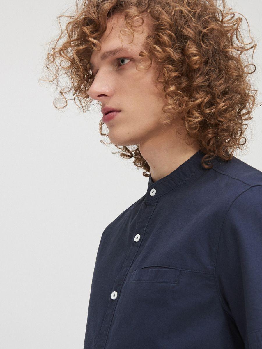 Cotton shirt with standing collar - MARINEBLAU - XT948-59X - Cropp - 3