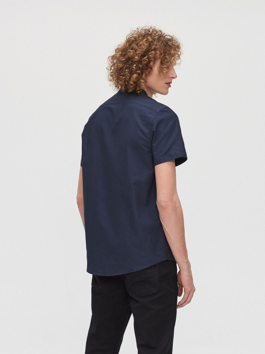 Cotton shirt with standing collar - MARINEBLAU - XT948-59X - Cropp - 4