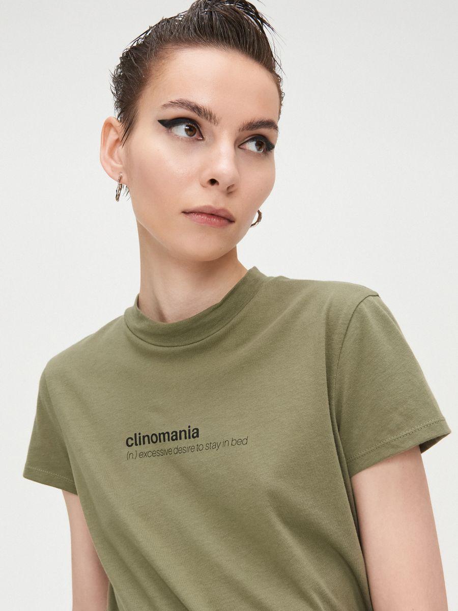 Basic stand up collar blouse - KHAKIGRÜN - XV981-78X - Cropp - 2