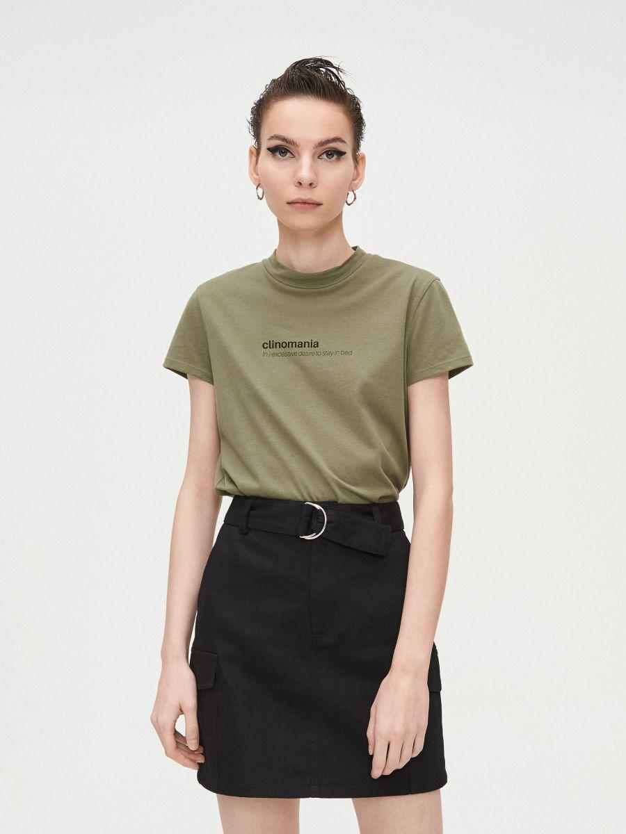 Basic stand up collar blouse - KHAKIGRÜN - XV981-78X - Cropp - 3