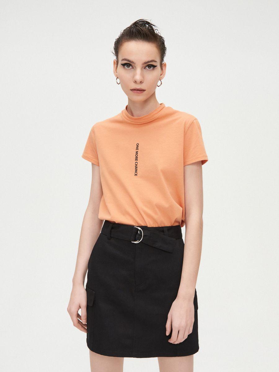 Basic stand up collar blouse - BEIGE - XV981-80X - Cropp - 3