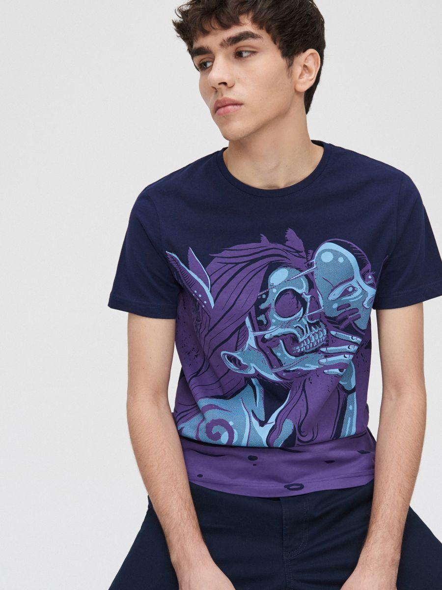 Printed T-shirt - MARINEBLAU - XZ377-59X - Cropp - 3
