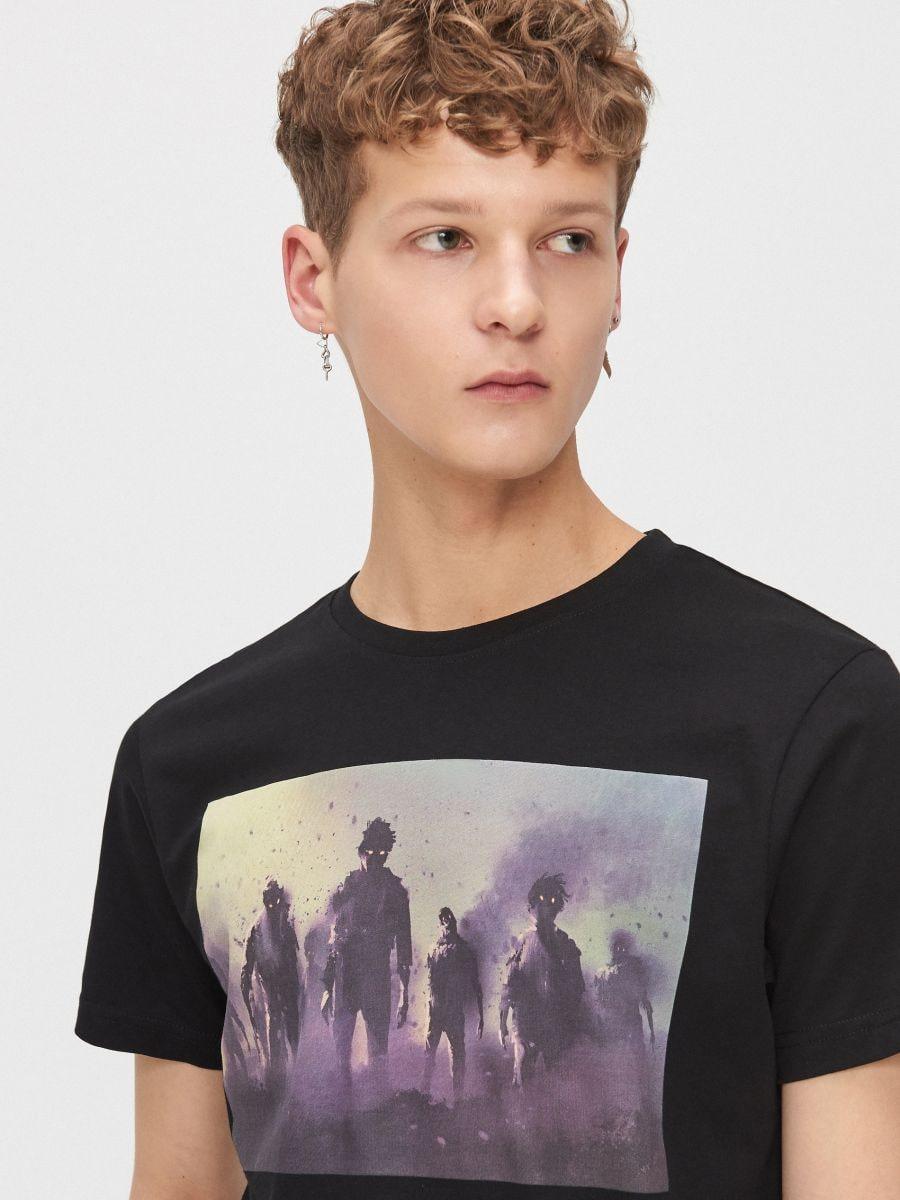 Printed T-shirt - SCHWARZ - XZ389-99X - Cropp - 3