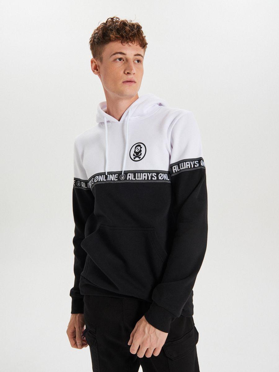 Black and white hoodie with print - SCHWARZ - YC290-99X - Cropp - 1