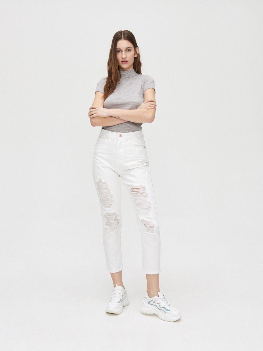 Rib knit blouse with stand up collar - HELLGRAU - YC845-09M - Cropp - 1