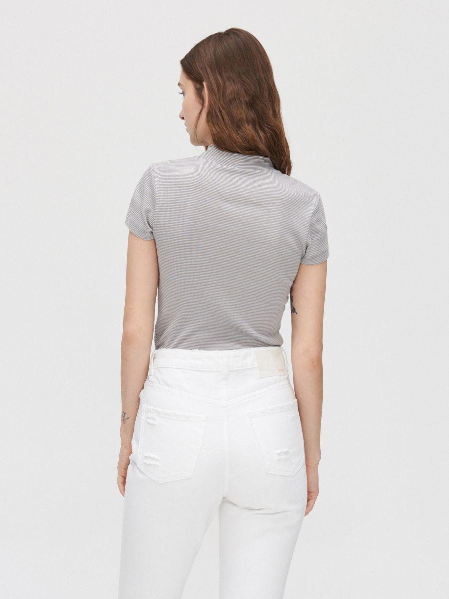 Rib knit blouse with stand up collar - HELLGRAU - YC845-09M - Cropp - 4