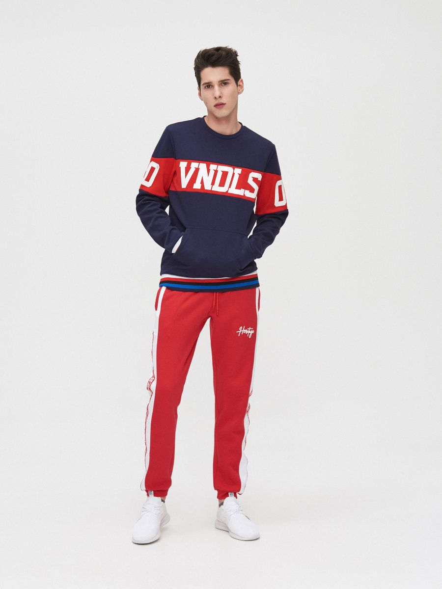 Joggers with side stripes - ROT - YD502-33X - Cropp - 1