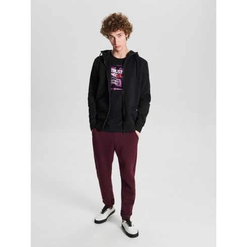 Do-up hooded jogging top