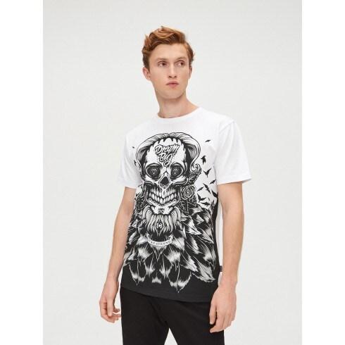 T-shirt with skull motif print