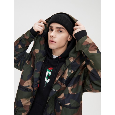 Hooded camo parka
