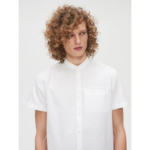 Cotton shirt with standing collar