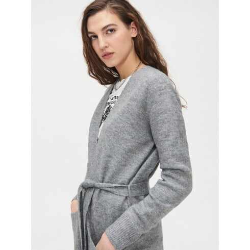 Cardigan with tie at the waist
