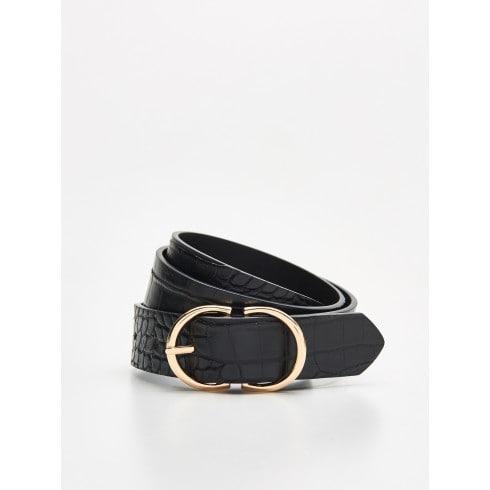 Textured skinny belt