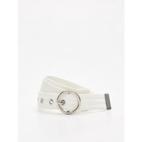 Webbing belt with buckle