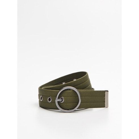Webbing belt with buckle
