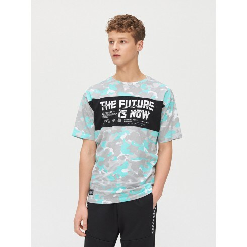 Camo T-shirt with slogan