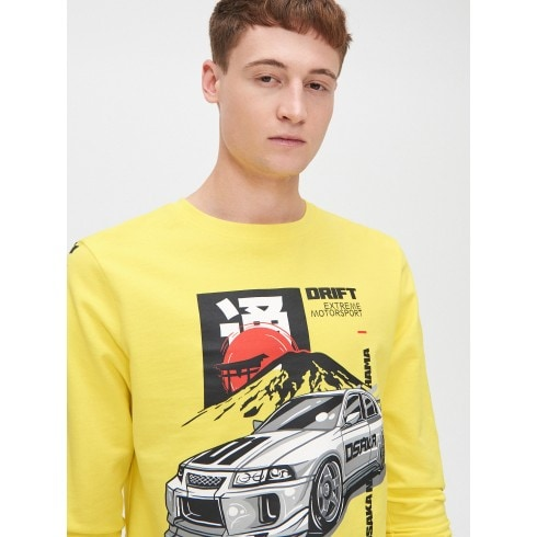 Yellow long sleeve T-shirt with print