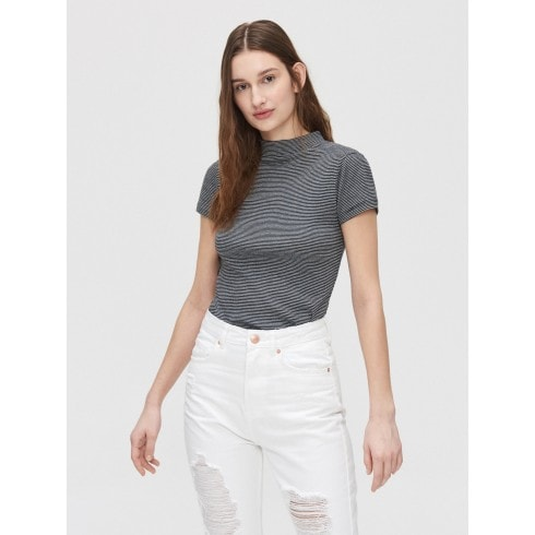 Rib knit blouse with stand up collar