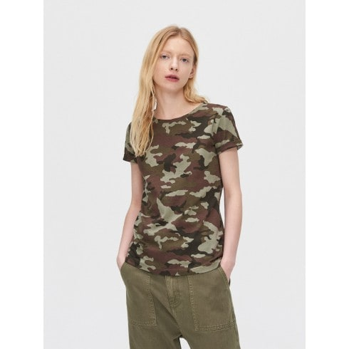 Camouflage printed T-shirt with two-tone sleeves