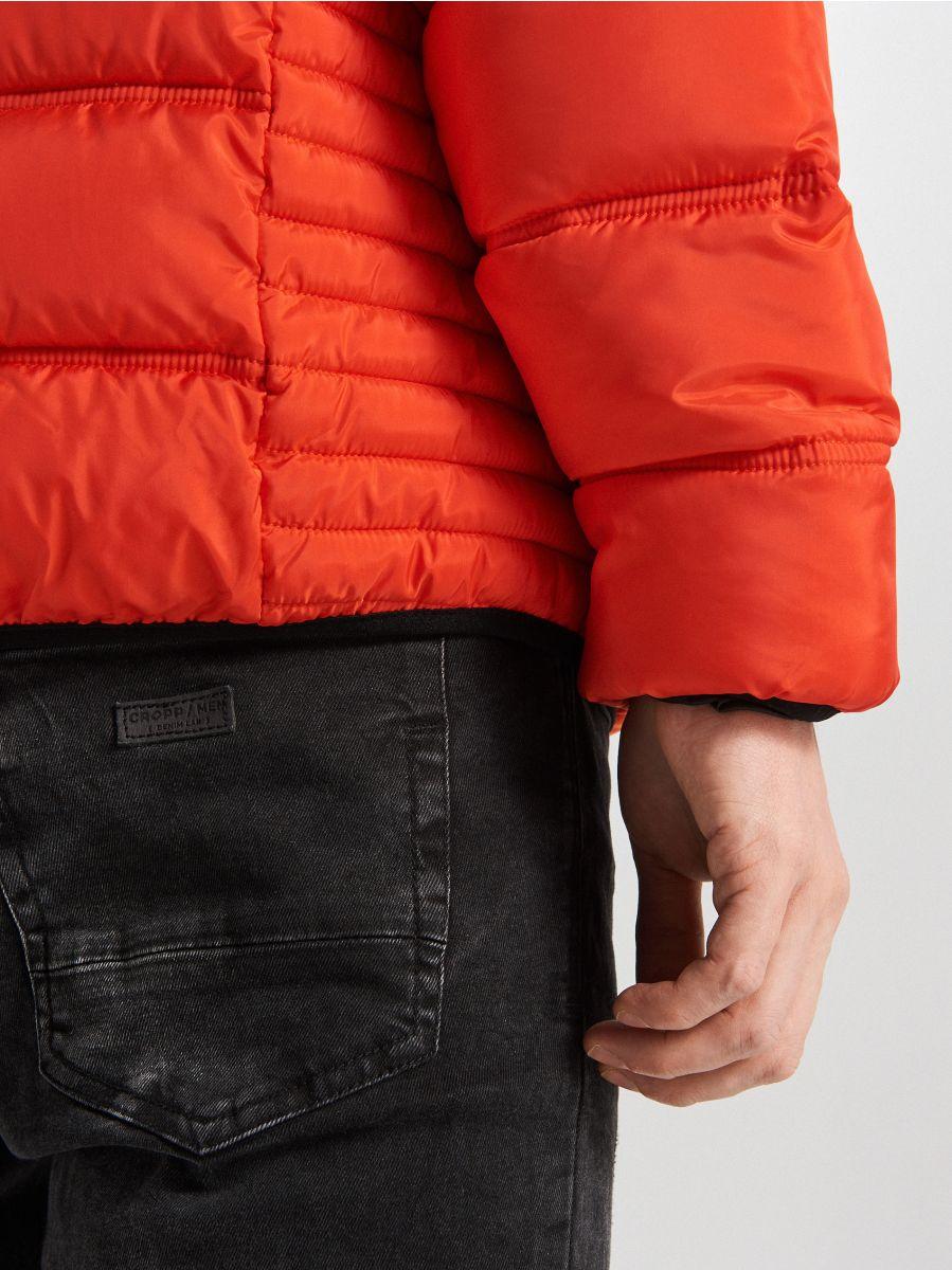 Pikowana kurtka z kapturem - POMARAŃCZOWY - WA088-22X - Cropp - 6