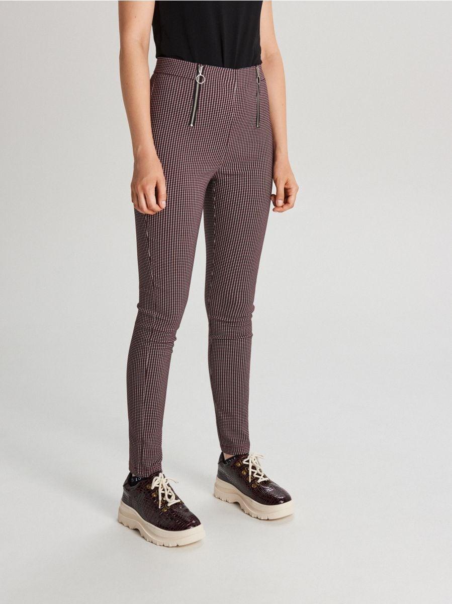 Spodnie high waist z zamkami - BORDOWY - WC049-83X - Cropp - 2