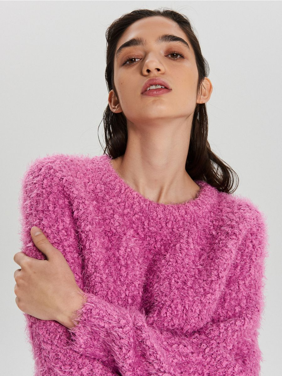 Puszysty sweter - FIOLETOWY - WC870-44X - Cropp - 2