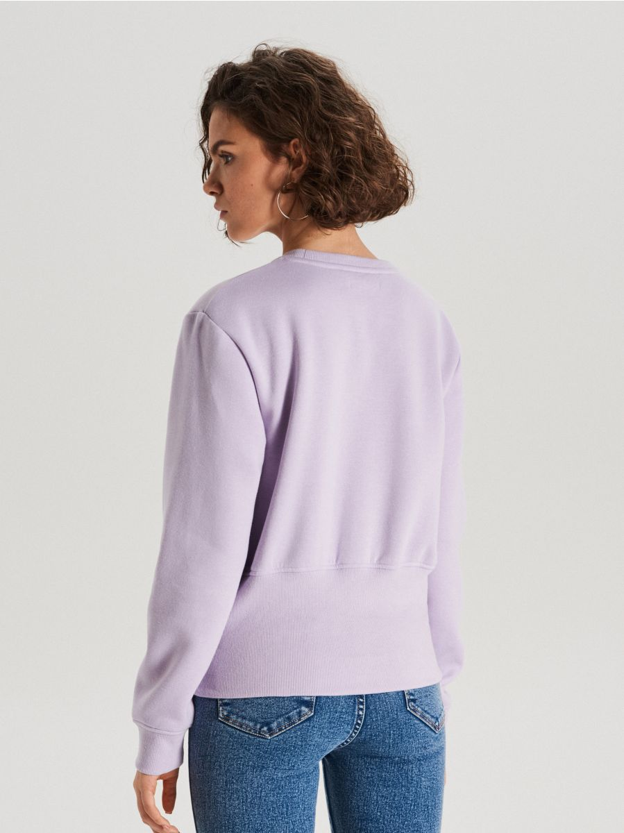 Bluza z szerokim ściągaczem - FIOLETOWY - WE190-48X - Cropp - 4