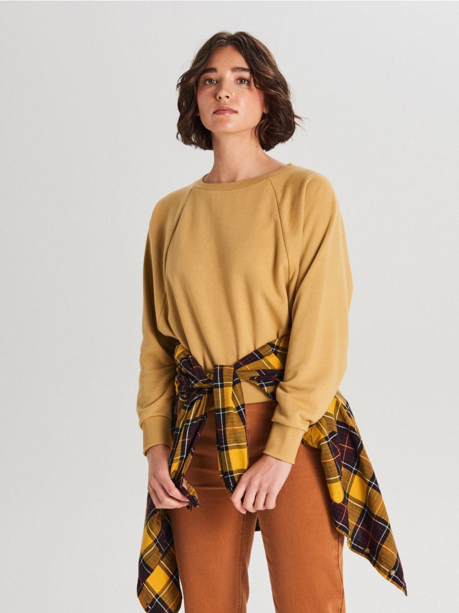 Bluza z raglanowym rękawem - ŻÓŁTY - WE228-18X - Cropp - 1